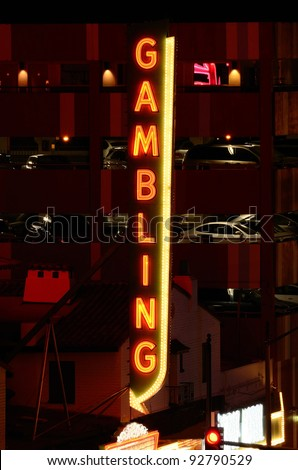 Gambling sign in outside a casino - stock photo