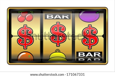Gambling ,slot Machine. Business success, dollars - stock photo