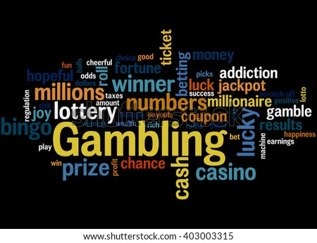 Gambling, word cloud concept on black background.