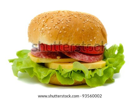 gamburgers cheese salami and lettuce