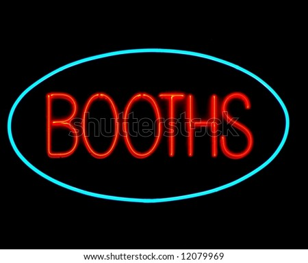 game booths neon sign on black