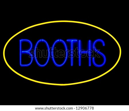 game booths neon sign on black - stock photo