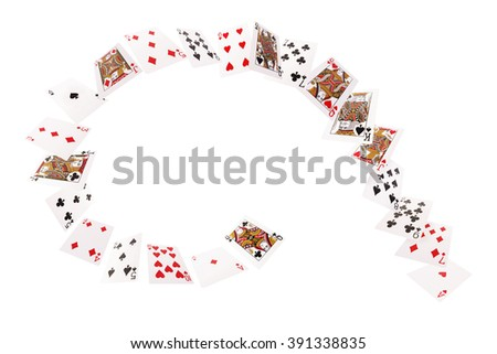 Game cards flying in a spiral. Isolate on white background. - stock photo