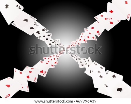 Game cards flying . Isolate on white-black background.