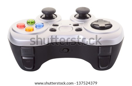 Game controller isolated on a white background - stock photo