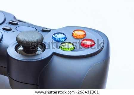 Game controller isolated on a white background , Selective focus on button - stock photo