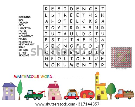 find words with these letters game children find all words horizontal stock illustration 16637