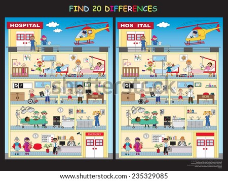 game for children: find the twenty differences in the hospital - stock photo