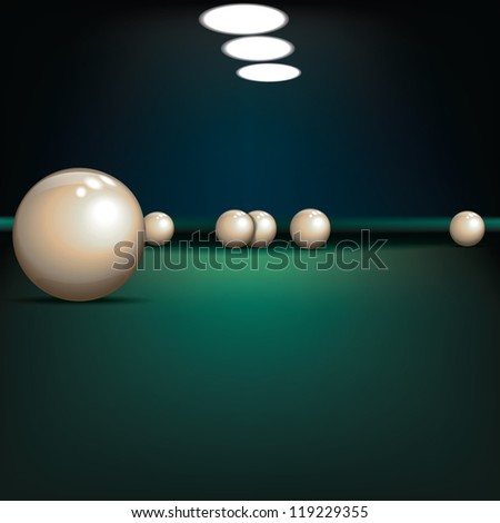game illustration with billiard balls on green table