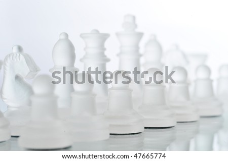 Game in chess, chessmen  isolated close up