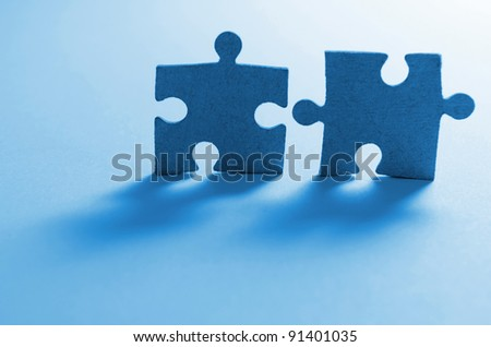Game in puzzles in a blue shade