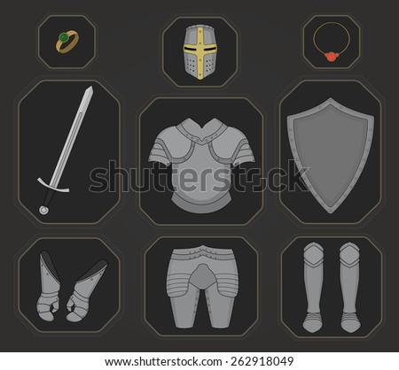 Game inventory. Knight armor set. Helmet, ring, necklace, sword, breastplate, shield, gloves, leggings, boots. Raster illustration - stock photo