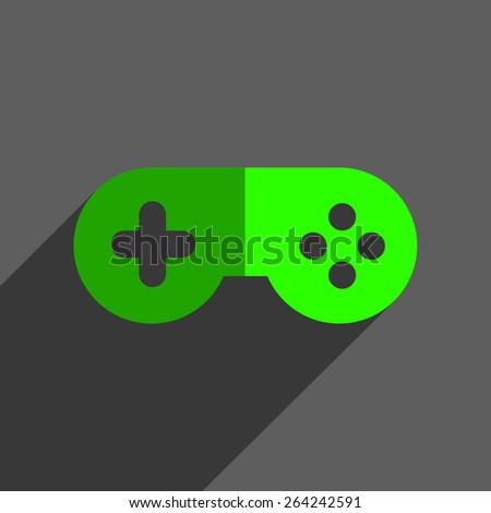 Game joystick flst icon badge with shadow - stock photo
