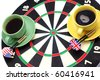 Game of a darts and coffee, in bright cups on a white background - stock photo