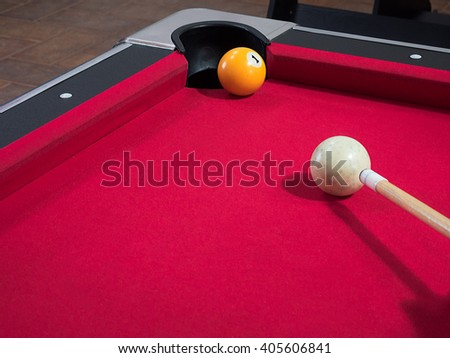 Game of american billiards  played on a billiard table for two persons