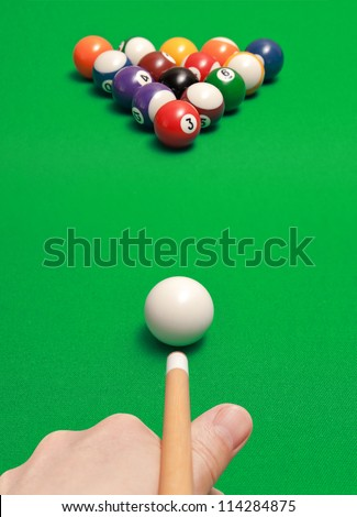 game of billiards - stock photo