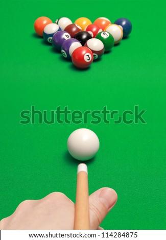 game of billiards - stock photo