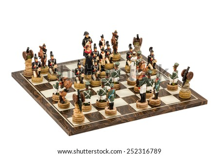 Game of decorative chess with human military figures isolated on white background - stock photo