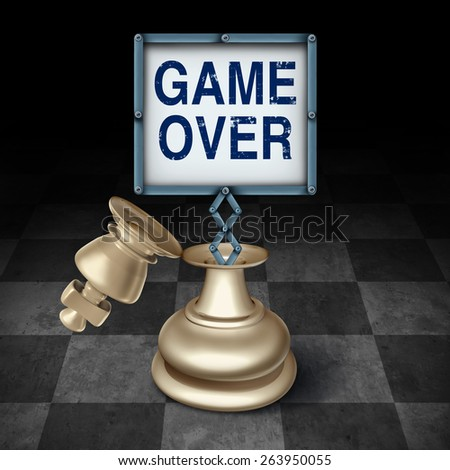 Game over business concept as an open king chess piece on a checkered board with a sign as words representing the competitive metaphor and symbol for the end or termination as a winner or loser. - stock photo