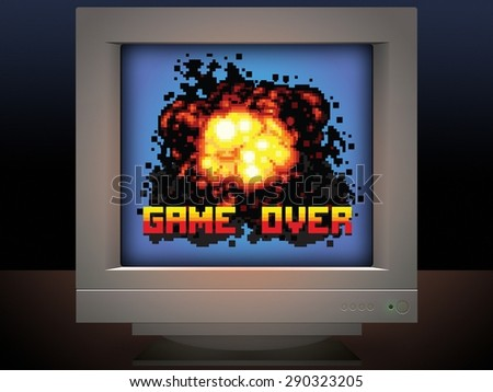 game over explosion retro video game style illustration - stock photo