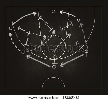 Game strategy drawn with white chalk on a blackboard. - stock photo