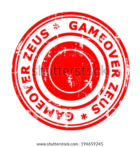 Gameover Zeus virus stamp isolated on a white background. - stock photo