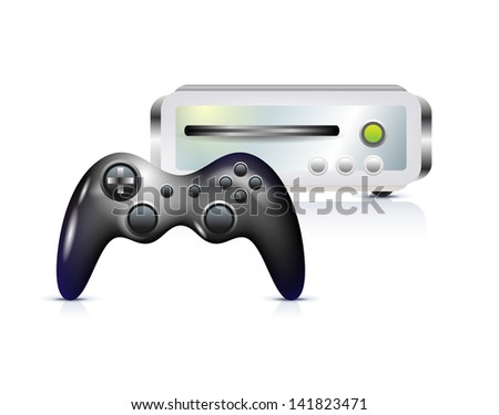 Gamepad with console on white - stock photo