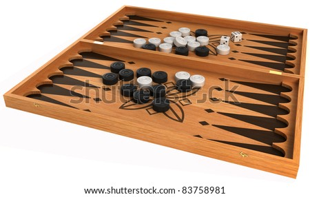 Games: backgammon with chips and dice isolated over white - stock photo
