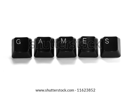 games - black computer keys isolated on white background