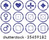 Games icons set. Grunge. White - dark blue palette. Raster illustration. - stock photo