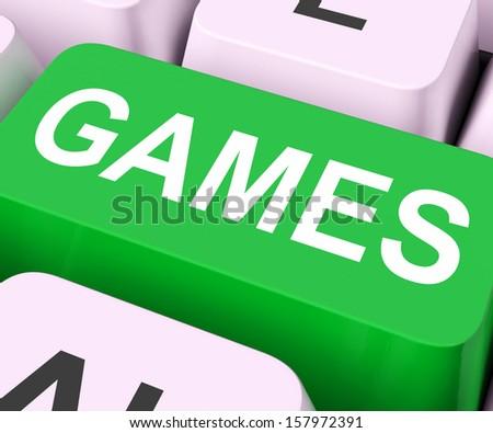 Games Key Showing Online Gaming Or Gambling - stock photo
