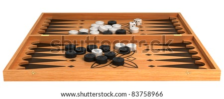 Games: wooden backgammon with chips and dice isolated over white
