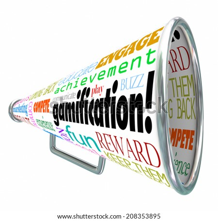 Gamification and related words on a megaphone or bullhorn such as educate, achieve, engage, play, communicate, fun, reward and keep them coming back - stock photo