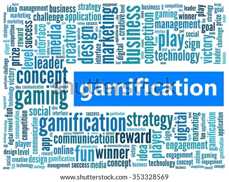 Gamification in word collage - stock photo