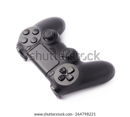 Gaming console black plastic analog controller gamepad device isolated over the white background - stock photo