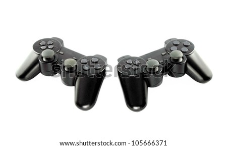 gaming console on white background with clipping path - stock photo