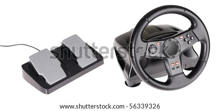Gaming steering wheel isolated on white background