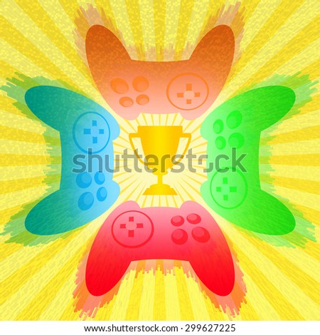 Gaming tournament illustration with four colorful game controllers competing around trophy cup - stock photo