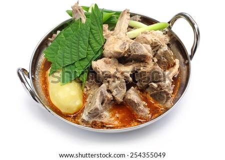 gamjatang, pork bone and potato soup, korean cuisine isolated on white background - stock photo