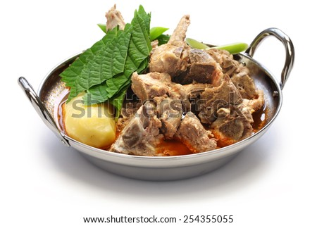 gamjatang, pork bone and potato soup, korean cuisine isolated on white background - stock photo
