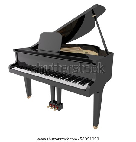 gand piano isolated on a White background - stock photo