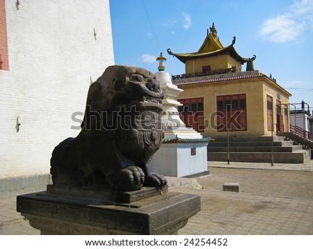 Gandan Khiid Monastery in Ulaanbaatar, Mongolia - stock photo