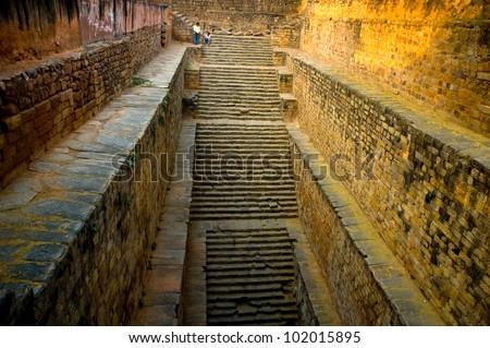 Gandhak Bauli, 12th century, stepwell in Mehrauli village New Delhi, India - stock photo