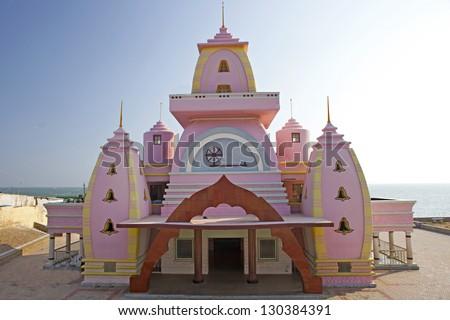 Gandhi Memorial, built on the site, where a scatter his ashes. Kanyakumari, Tamilnadu, India. - stock photo