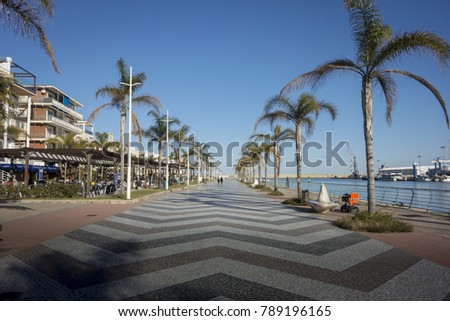 GANDIA, VALENCIA, SPAIN, JANUARY 25TH 2017 - View of the promenade and port in Gandia, Valencia, Spain