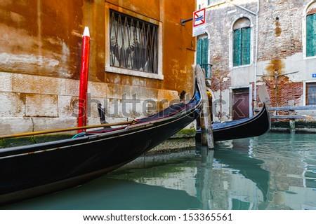 Gandola traffic in Venice, Italy - stock photo