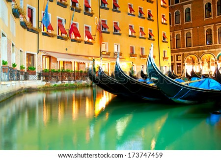 Gandolas at the canals of Venice, Italy - stock photo