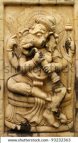 Ganesh hindu god made from Stone carving - stock photo