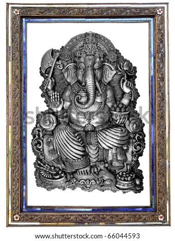 GANESH in Frame Thai style Is a unique Thai style. The Thai craftsmanship. - stock photo