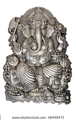 GANESH silver style The Thai craftsmanship. on white background - stock photo